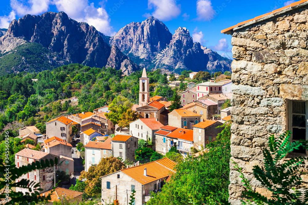 Fototapeta Evisa - small picturesque mountain village in splendid mountains of Corsica island