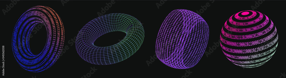 Fototapeta Set of 3d shapes made of binary code. Concept of virtual reality, artificial intelligence. Collection of vector elements for logotype, poster, cover design in vaporwave and synthwave style.