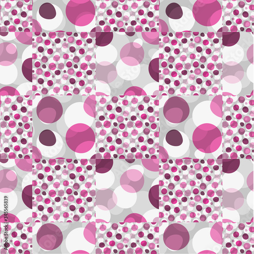 Fotografija Creatve pattern with pink large and small deformed polka dots