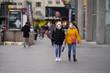 people walking covid-19 corona virus background blur
