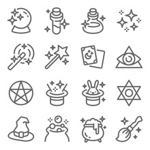 Magic Symbol Icon Set Vector Illustration. Contains Such Icon As Magic Hat, Halloween, Potion, Witchcraft, Cauldron, Illuminati And More. Expanded Stroke