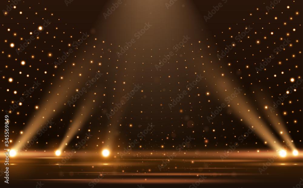 Fototapeta Gold lights rays scene background