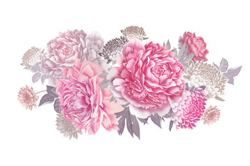 Panel Szklany Peonie Bouquet of beautiful garden flowers. Peonies, roses and asters. Vintage.