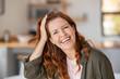 Leinwandbild Motiv Mature beautiful woman laughing