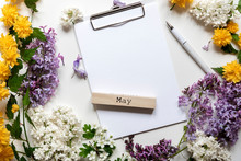 Blank Note Space With Beautiful Spring Flowers And Lilac. Month -May.Copy Space