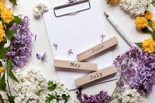 Blank Note Space With Beautiful Spring Flowers And Lilac. Month - May, June And July. Copy Space2