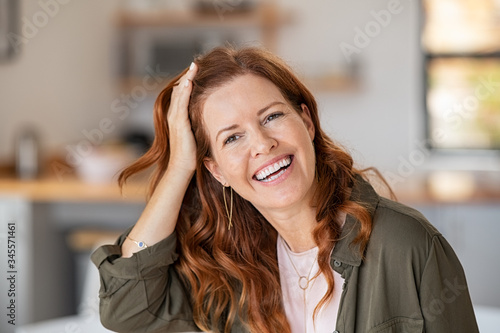 Mature beautiful woman laughing Canvas