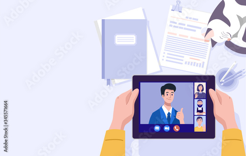 Obraz na płótnie Work from home, Illustration of a man having video conference on tablet at home
