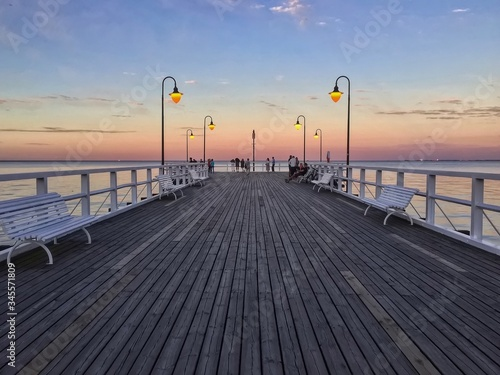 Fototapety, obrazy: Pier On Sea At Sunset