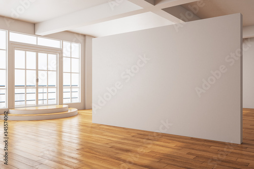 Fototapeta Minimalistic gallery interior with city view and blank wall obraz