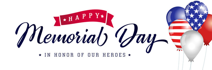 Happy Memorial Day typography poster, american balloons with flags. Memorial Day USA, flag vector illustration background