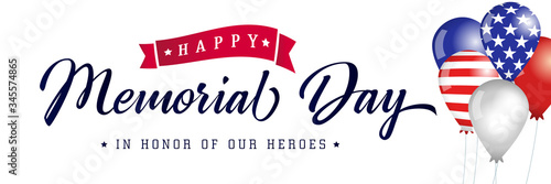 Happy Memorial Day typography poster, american balloons with flags. Memorial Day USA, flag vector illustration background - 345574865