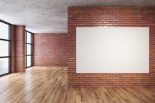 Modern Red Brick Room With Bla...