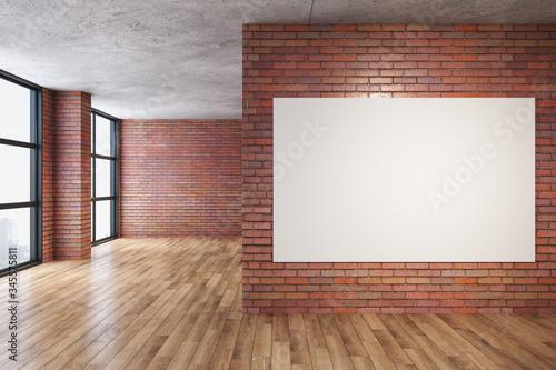 Obraz na plátně Modern red brick room with blank poster on wall.