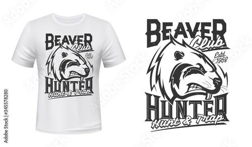 Beaver print t-shirt mockup, hunting club design Slika na platnu