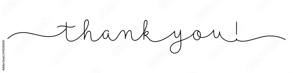 Fototapeta THANK YOU! black vector monoline calligraphy banner with swashes