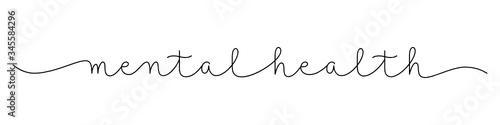 Obraz MENTAL HEALTH black vector monoline calligraphy banner with swashes - fototapety do salonu