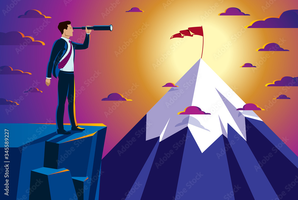 Fototapeta Businessman looking for opportunities in spyglass standing on top peak of mountain business concept vector illustration, successful young handsome business man searches new perspectives.