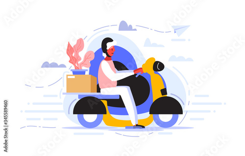A courier in helmet rides a scooter to quickly and efficiently deliver the package to the client who ordered goods Tapéta, Fotótapéta
