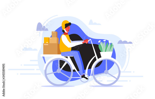 Fényképezés A courier in helmet rides a bike to quickly and efficiently deliver the packages to the client who ordered some goods
