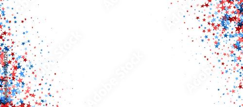 Obraz Blue and red confetti stars background. - fototapety do salonu
