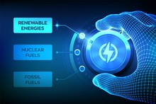Energy Industry Sectors. Wireframe Hand Turning An Energy Transition Button To Switch From Fossil Fuels To Renewable Energies. Electric Power Generation Via Sustainable Sources. Vector Illustration.