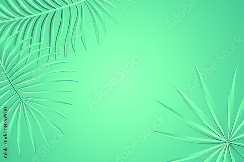 Photo background with tropical palm leaves
