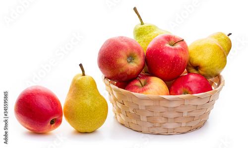 Cuadros en Lienzo Apples and pears in a wicker basket