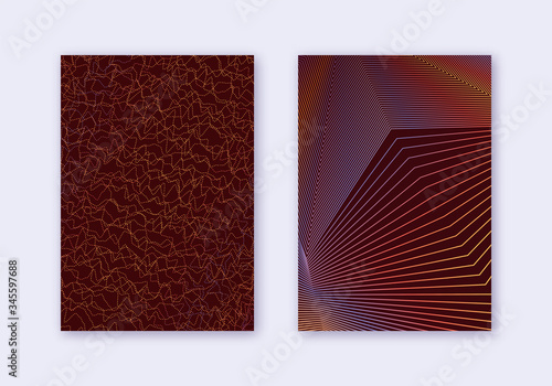 Fototapeta Cover design template set. Abstract lines modern b