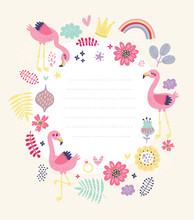 Floral Card, Frame For Text Wi...