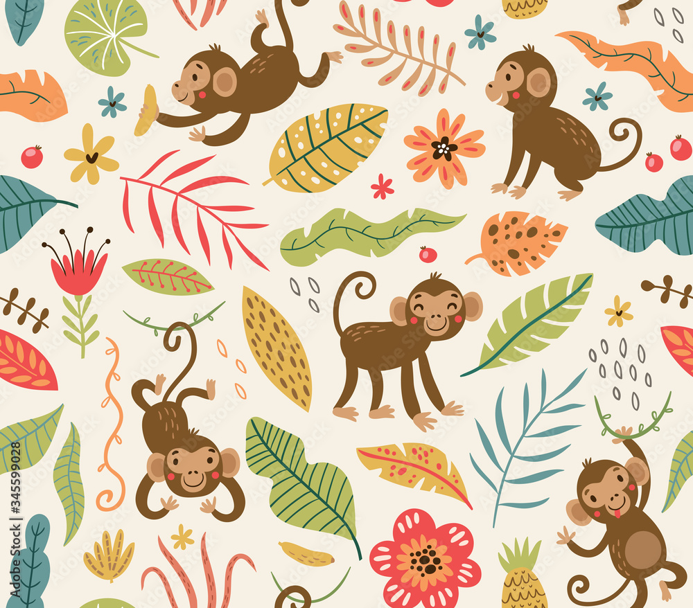 Cute and funny monkeys. seamless pattern