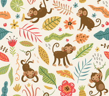 Cute And Funny Monkeys. Seamle...
