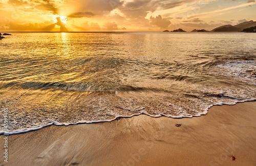 Obraz Beautiful sunset at Seychelles beach - fototapety do salonu