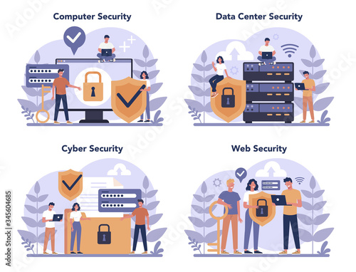 Cyber or web security concept set Fototapet
