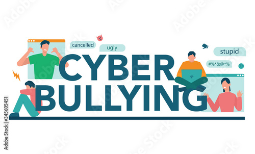 Cyberbullying typographic header concept Tablou Canvas