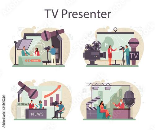 Valokuvatapetti TV presenter concept set