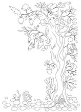 Coloring Page. Antistress Coloring Book For Adults Abstract Tree