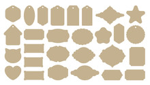 Vintage Labels Shape Templates. Craft Paper Cutout. Die-cut Knives Forms. Pastry Cookies Pattern. Gift Card Or Tag. Old Aged Retro Style. Blank Sticker For Signature. Nameplate Shape. Big Vector Set.