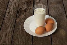 Glass Of Milk And Three Chicke...
