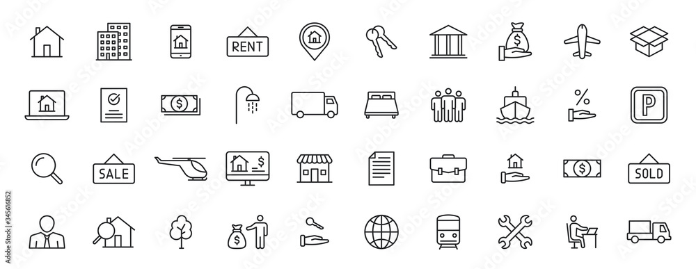 Fototapeta Set of 40 Real Estate web icons in line style. Rent, building, agent, house, auction, realtor. Vector illustration.