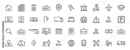 Fotografía Set of 40 Real Estate web icons in line style