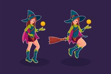 Witch Flying In A Broom Cartoo...