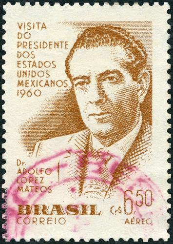 Photo BRAZIL - 1960: shows President Adolfo Lopez Mateos (1909-1969), Issued to commem