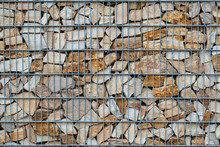 Gabion Stone Wall With Metal Grid As Background