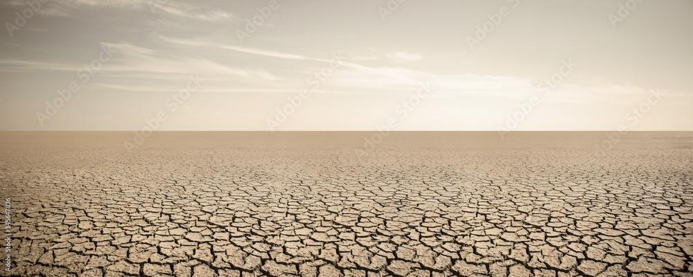 Fototapeta Panorama of dry cracked desert. Global warming concept