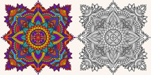 Coloring Page. Antistress Coloring Book For Adults. Mandala. Outline Drawing And Coloring Example