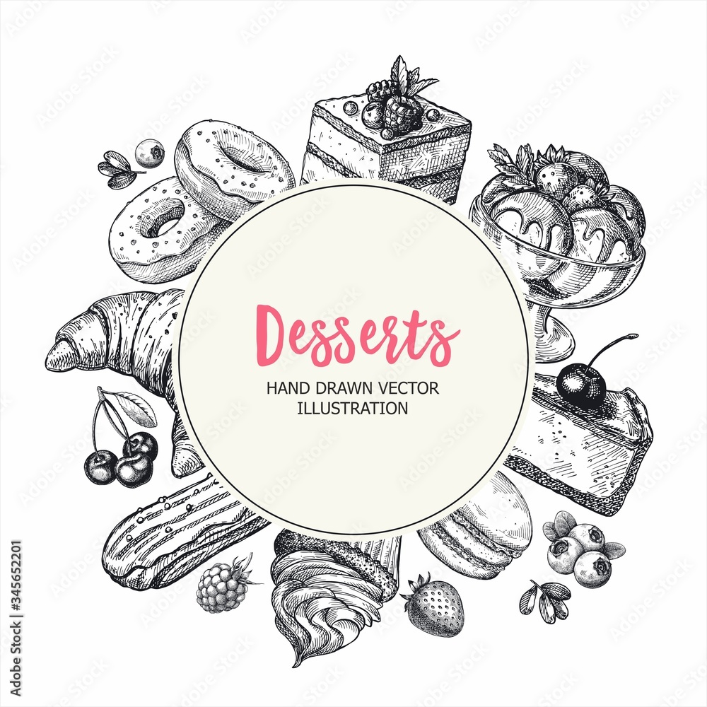 Fototapeta Round vector banner with handdrawn engraving sketch illustration. Sketch poster with sweets desserts bakery collection.