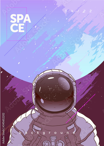 Canvas Print Vector illustration of space and planets