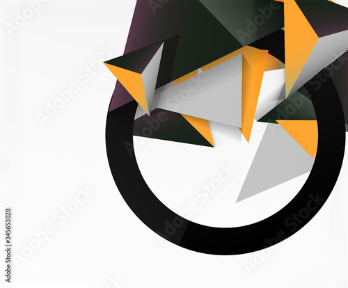 Photo Abstract background, mosaic 3d triangles composition, low poly style design