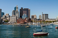Sailboats Moored In Boston Har...
